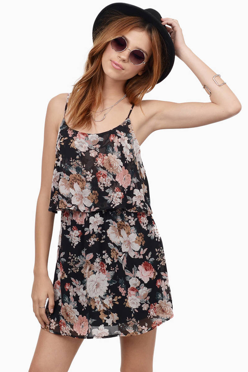 Madelyn Black Floral Print Tiered Skater Dress