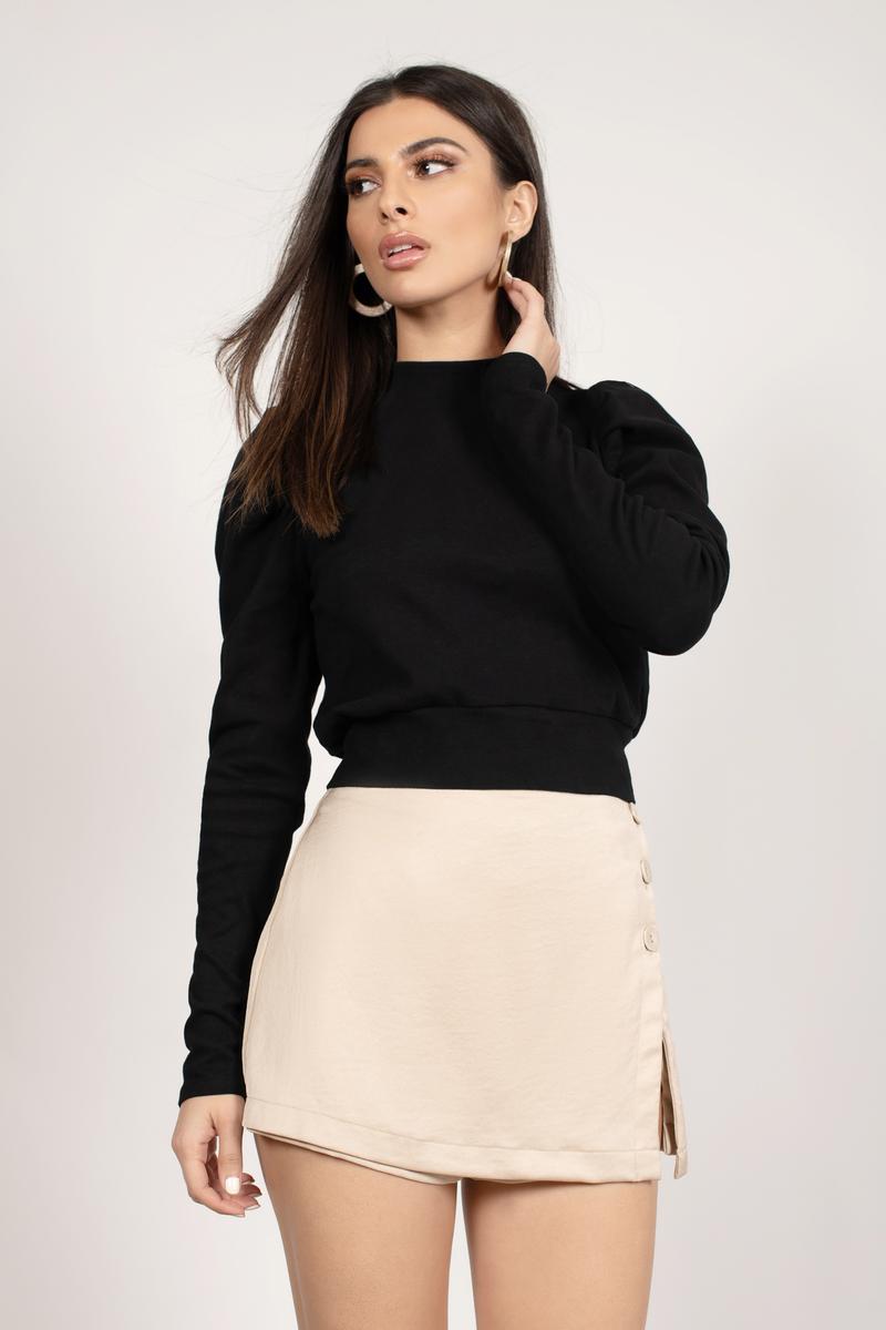 Black Knit Sweater - Mock Neck Top - Black Puff Sleeve Sweater -  31 ... 14f5929ad