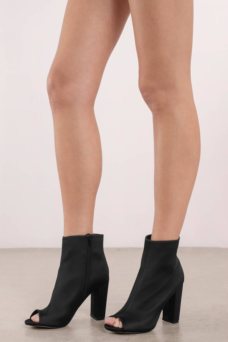 f69643863ef30 Chic Black Boots - Peep Toe Booties - Black Open Toe Boots -  27 ...