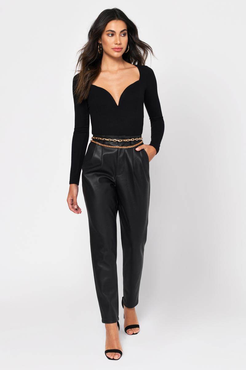 1fcb5d40ba Black Bodysuit - Sweetheart Bodysuit - Black Deep Plunge Bodysuit ...