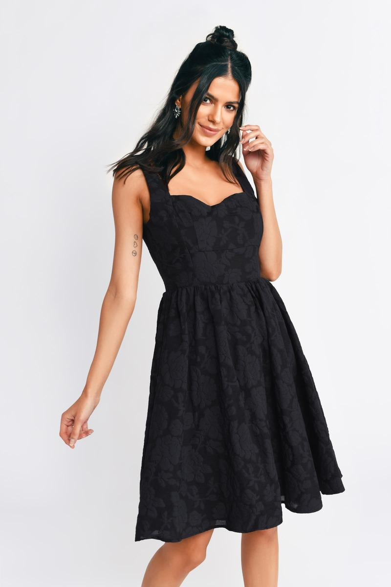 Meadow Black Floral Skater Dress