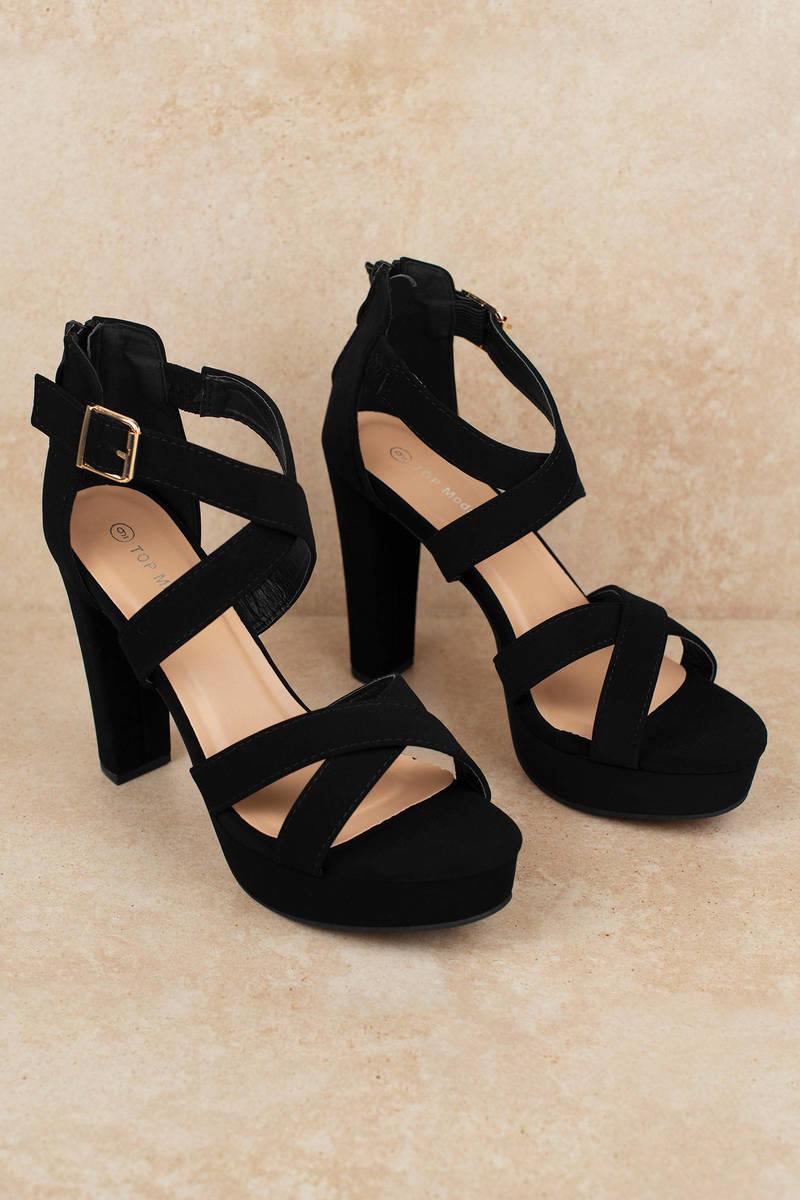 5ee7c6d67b03 Black Heels - Strappy Heels - Black Faux Suede Heels -  60