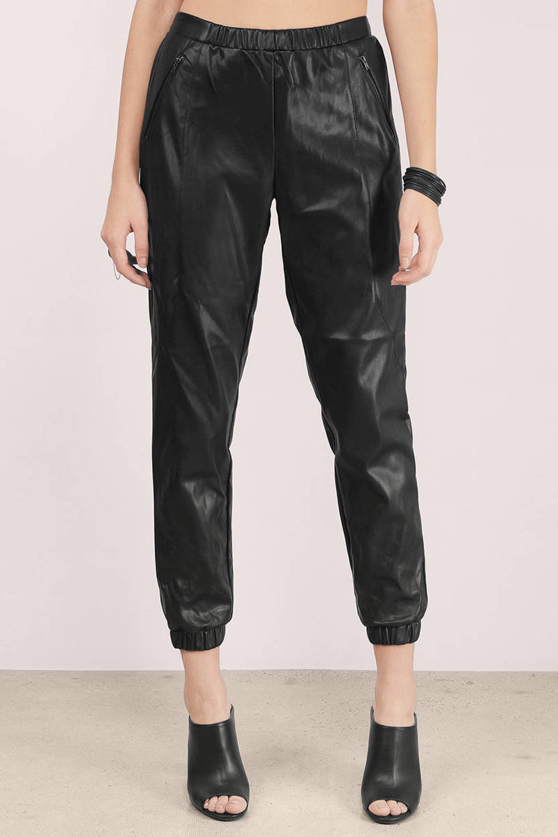 Mega Babe Black Faux Leather Pants