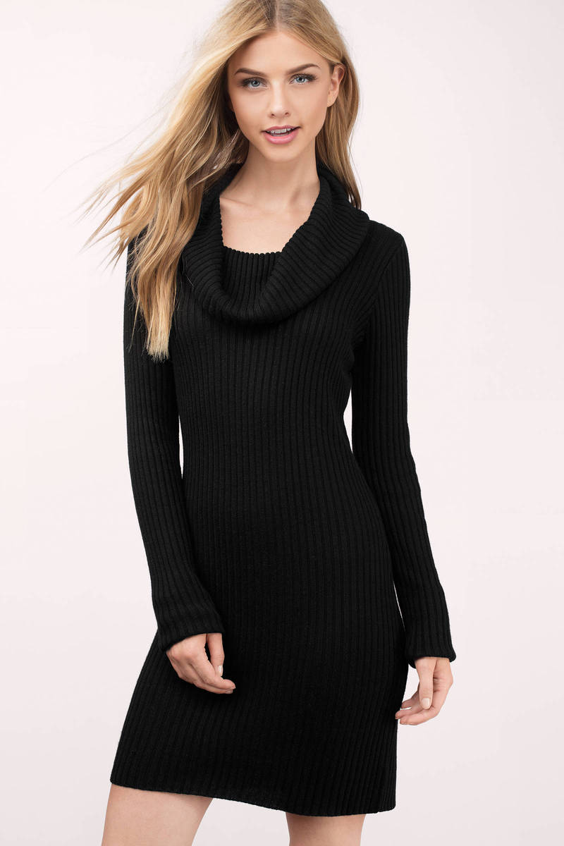 Mellie Black Knitted Sweater Dress