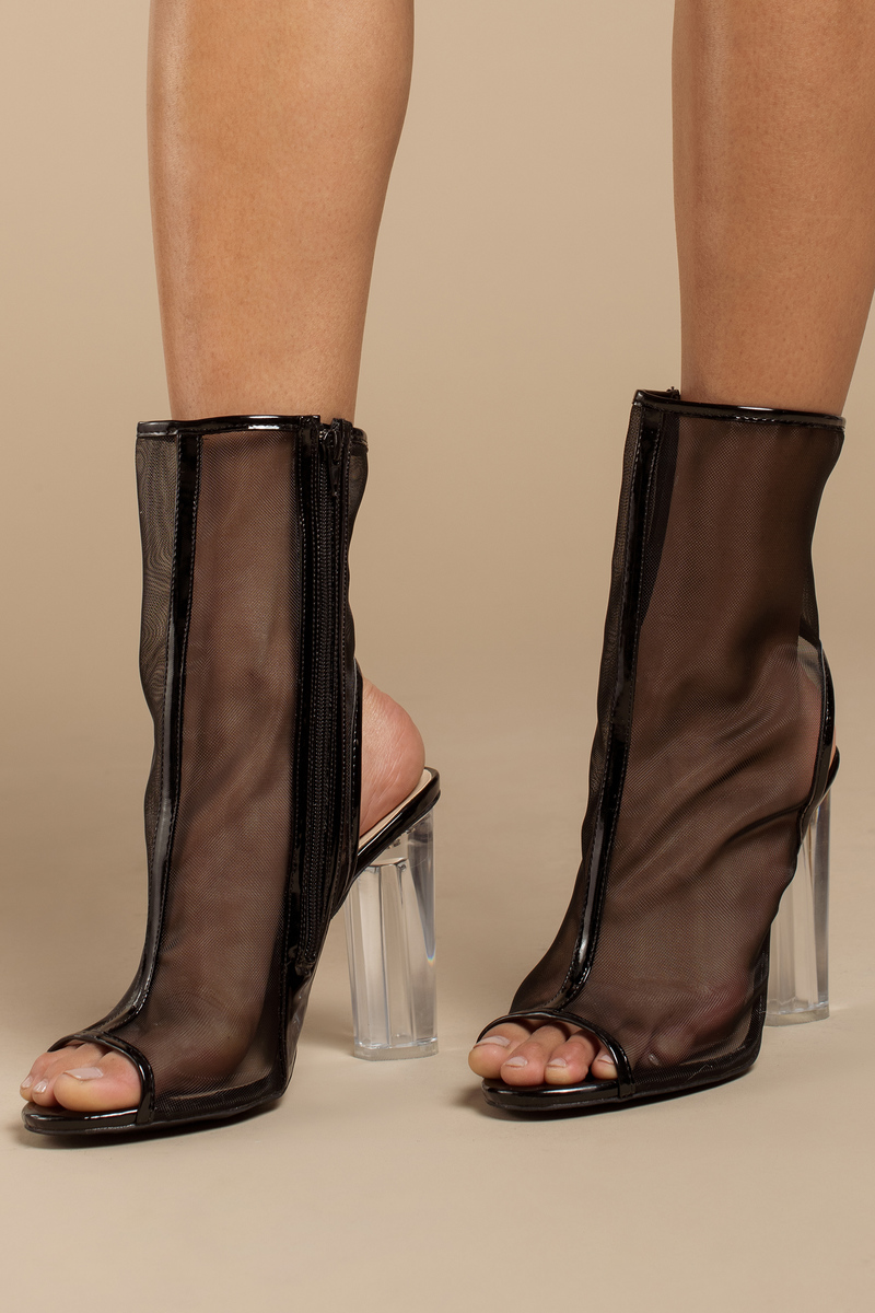 Mesh Around Black Peep Toe Booties