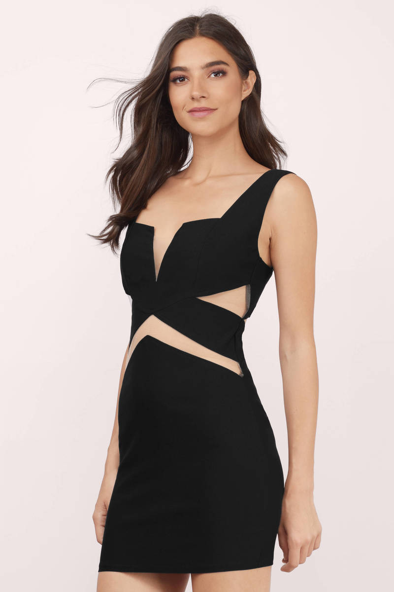 Mesh Sesh Black Bodycon Dress