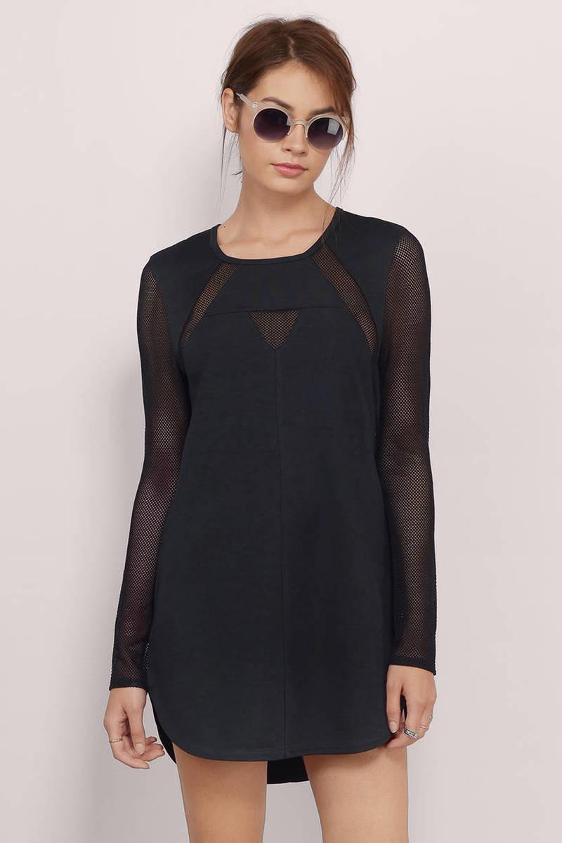 Mesh You Lots Black Sheer Shift Dress