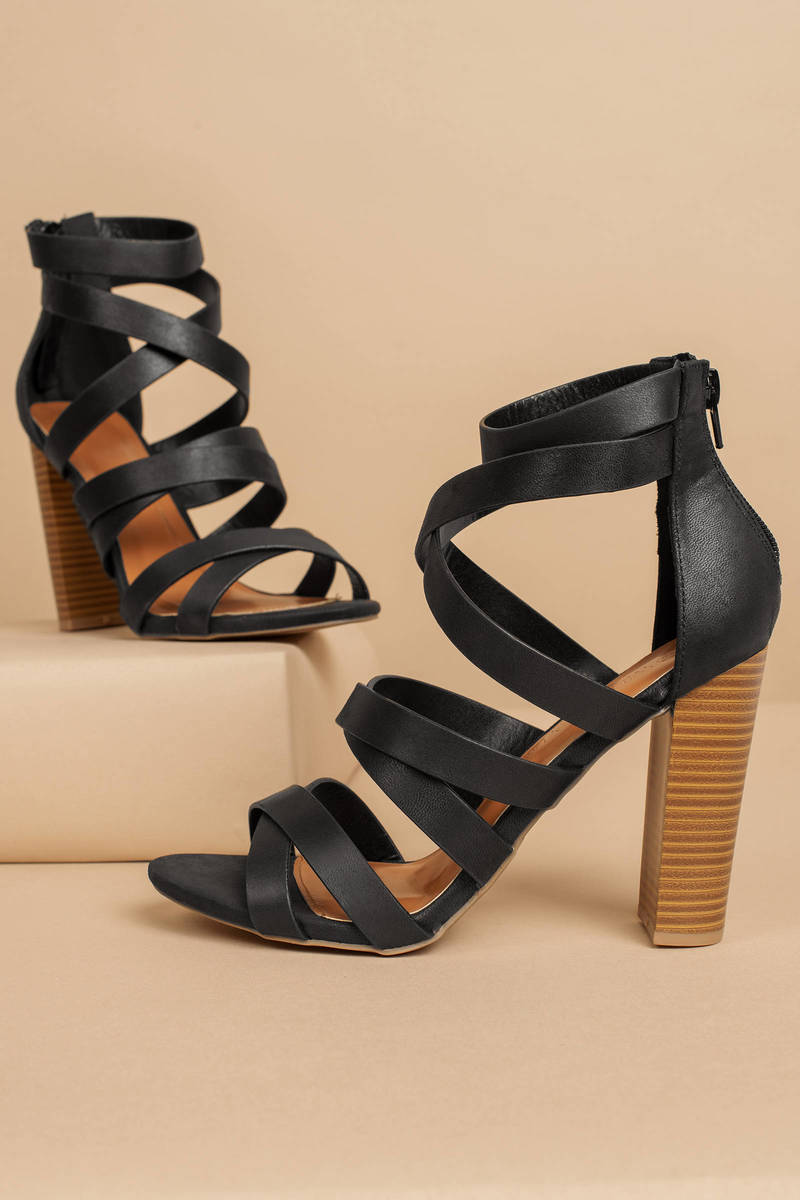 c72ca65ab14 Michelle Black Strappy Heels - NZ  41