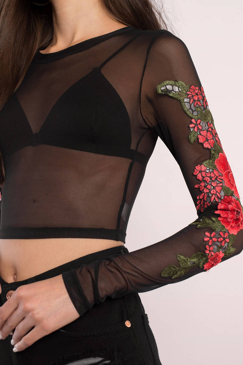 Mila Black Floral Applique Mesh Top