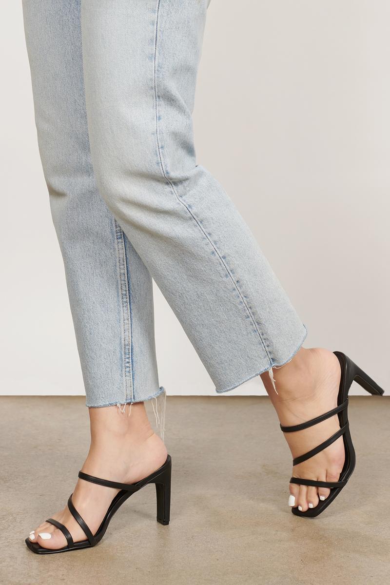 Mina Black Strappy Mule Sandal Heels