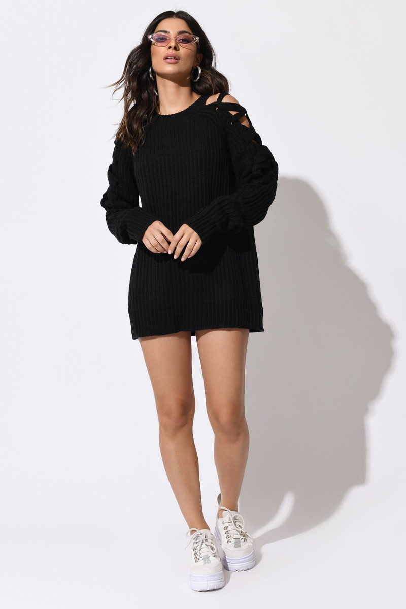 Miracle Black Lace Up Sweater Dress