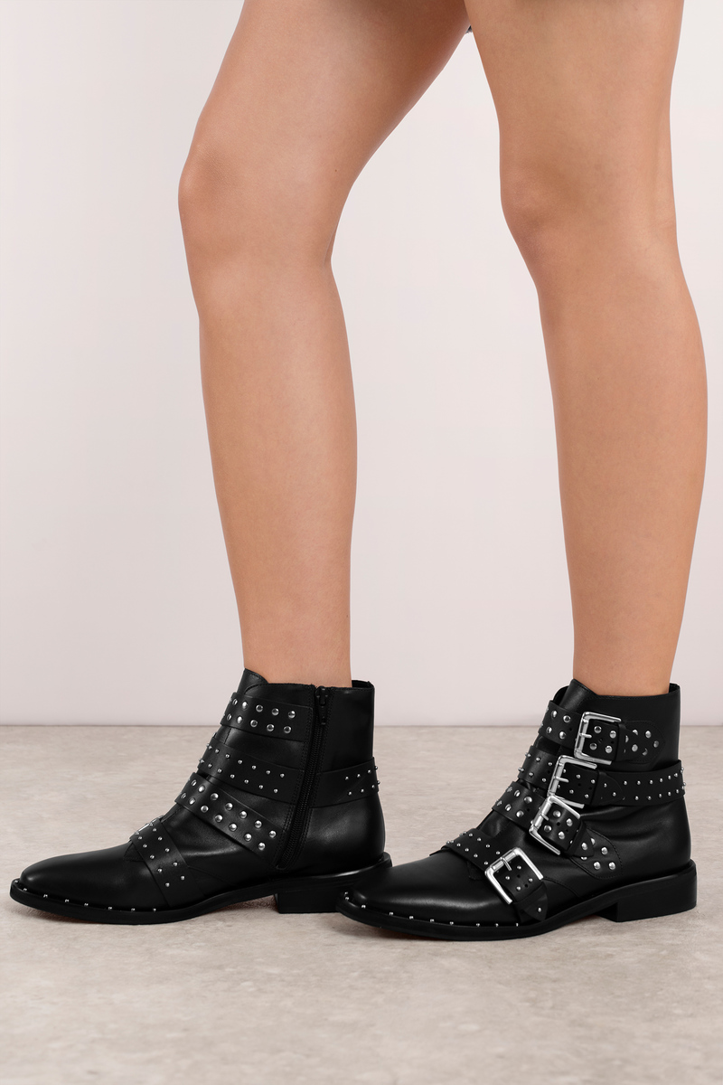9037f5d44a Trendy Black Boots - Studded Belted Boots - Black Buckled Boots ...