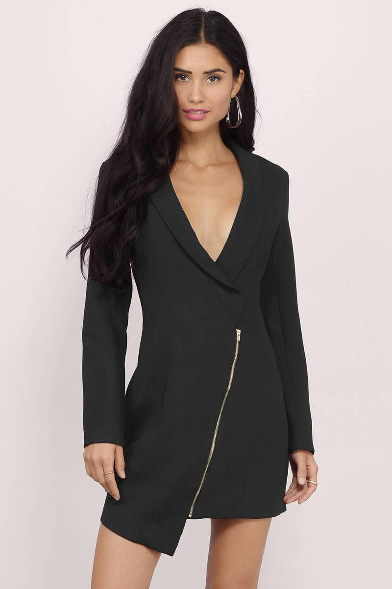 Miss Bossy Tuxedo White Wrap Dress