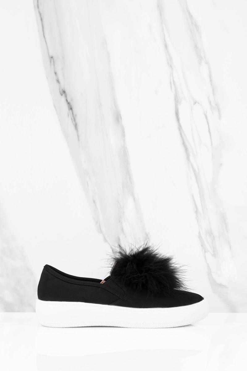 Miss Black Feather Trim Sneaker