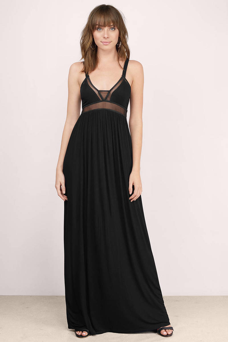 Miss His Kisses Black  Sheer Maxi Dress