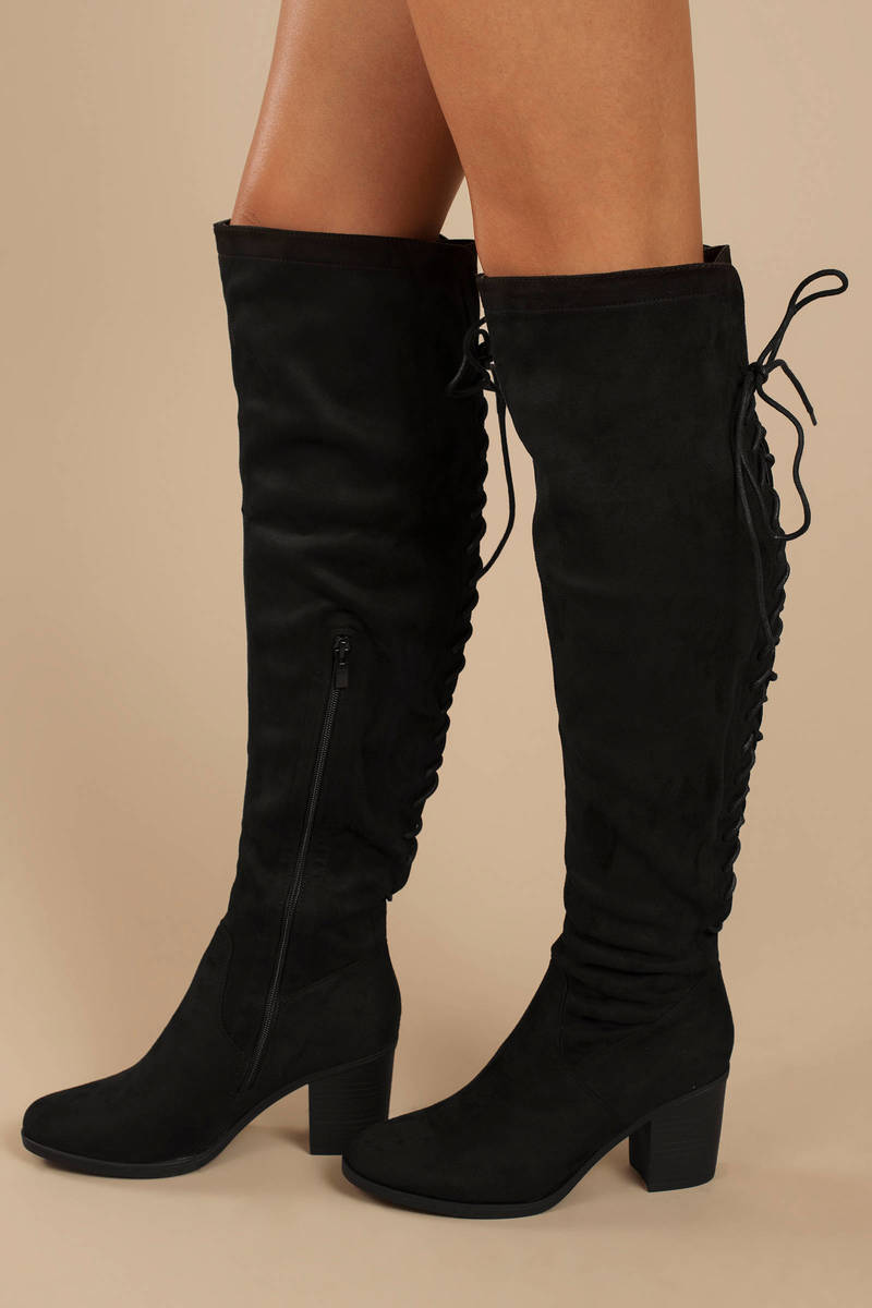 0b9d57a80ce2 Black Knee High Boots - High Heel Boots With Laces - Black Block ...