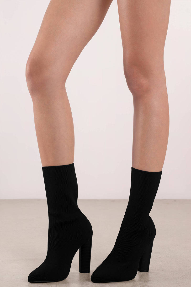 Morgan Black Heeled Sock Boots