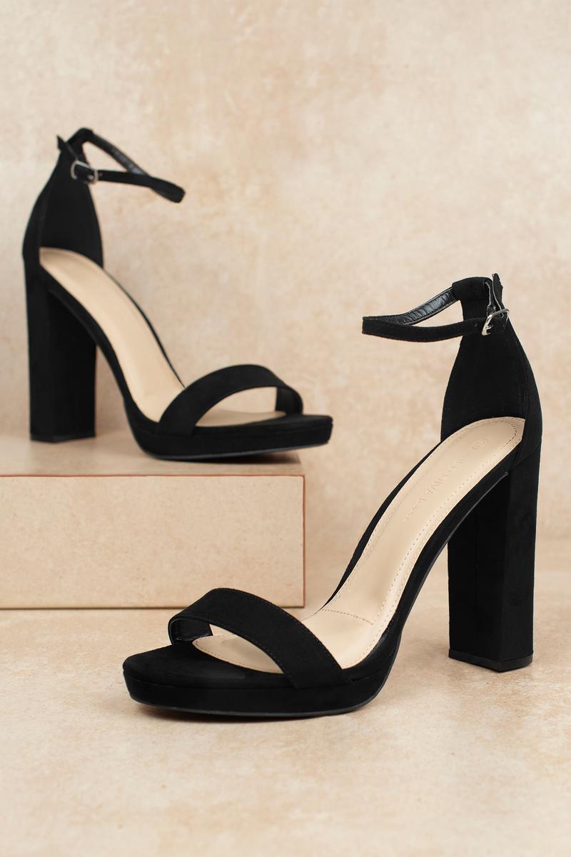 f7705faa5d5 Black Heels - Ankle Strap Heels - Black Block Heels - £60