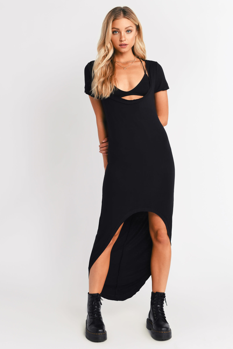 Cute Black Maxi Dress High Low Dress Black Black Cap Sleeve