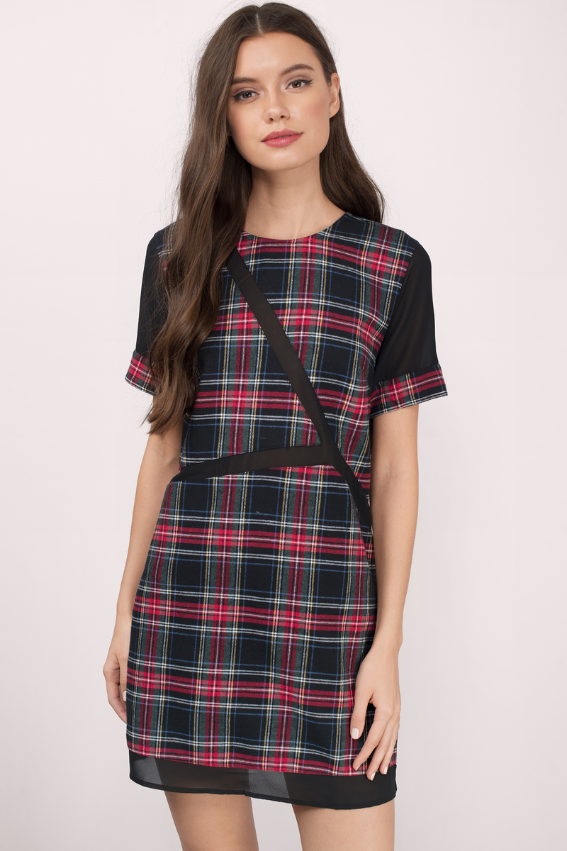 Anything But Ordinary Black Multi Flannel Print Shift Dress