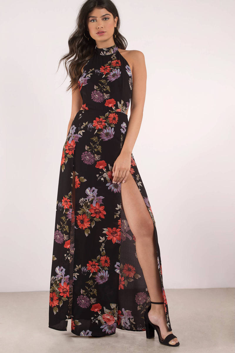 74b99d854421 Cute Black Multi Dress - Floral Print Dress - High Slit Dress -  25 ...