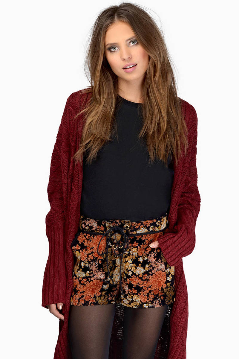 Autumn Moonlight Black Multi Print Shorts