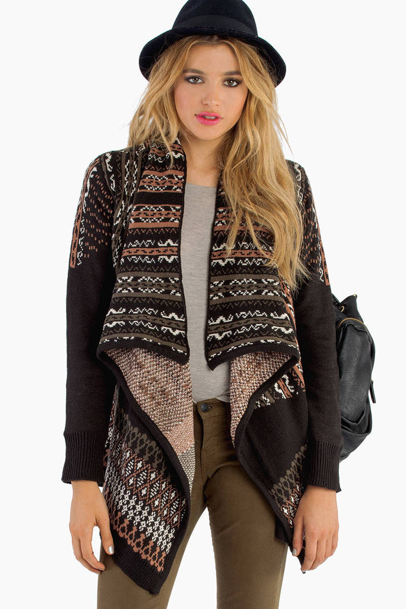 Cascading Black Multi Cardigan