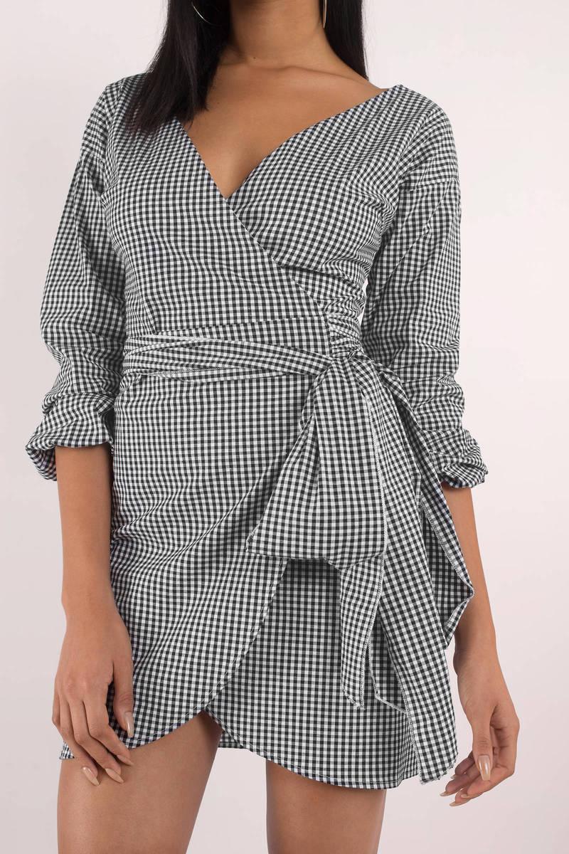 Check It Out Black Multi Gingham Wrap Dress