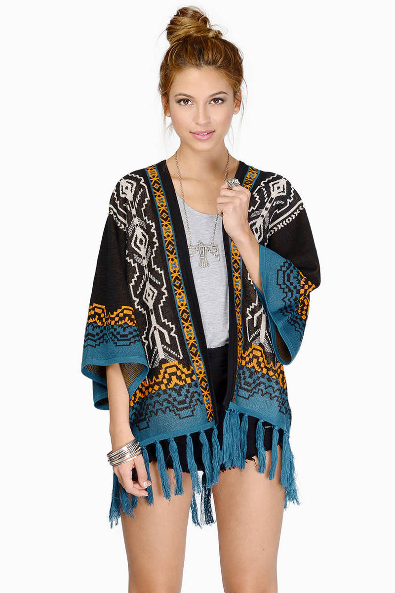 Gilded Age Black Multi Aztec Print Cardigan