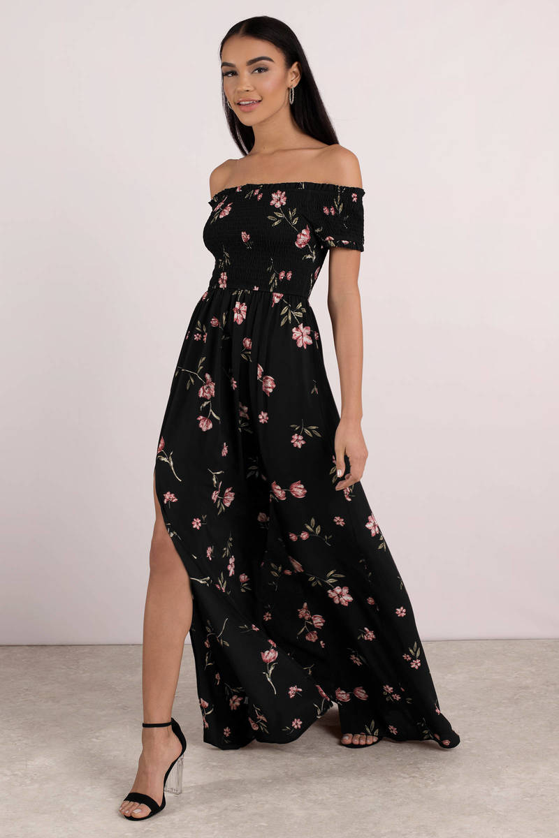 Trendy Black Maxi Dress Open Shoulder Maxi Dress Black Floral