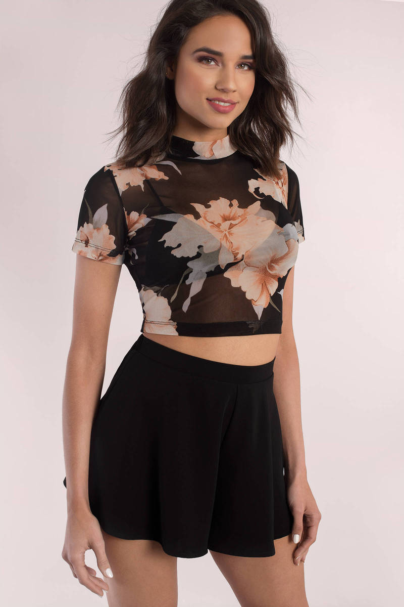 Meadow Black Multi Floral Print Mesh Blouse