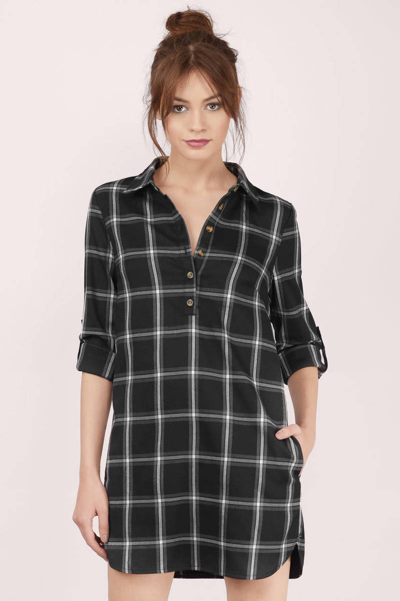On Check Red Multi Checkered Shift Dress