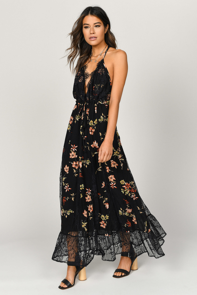 7bd332b3d7 Paulina Black Floral Maxi Dress - $108 | Tobi US