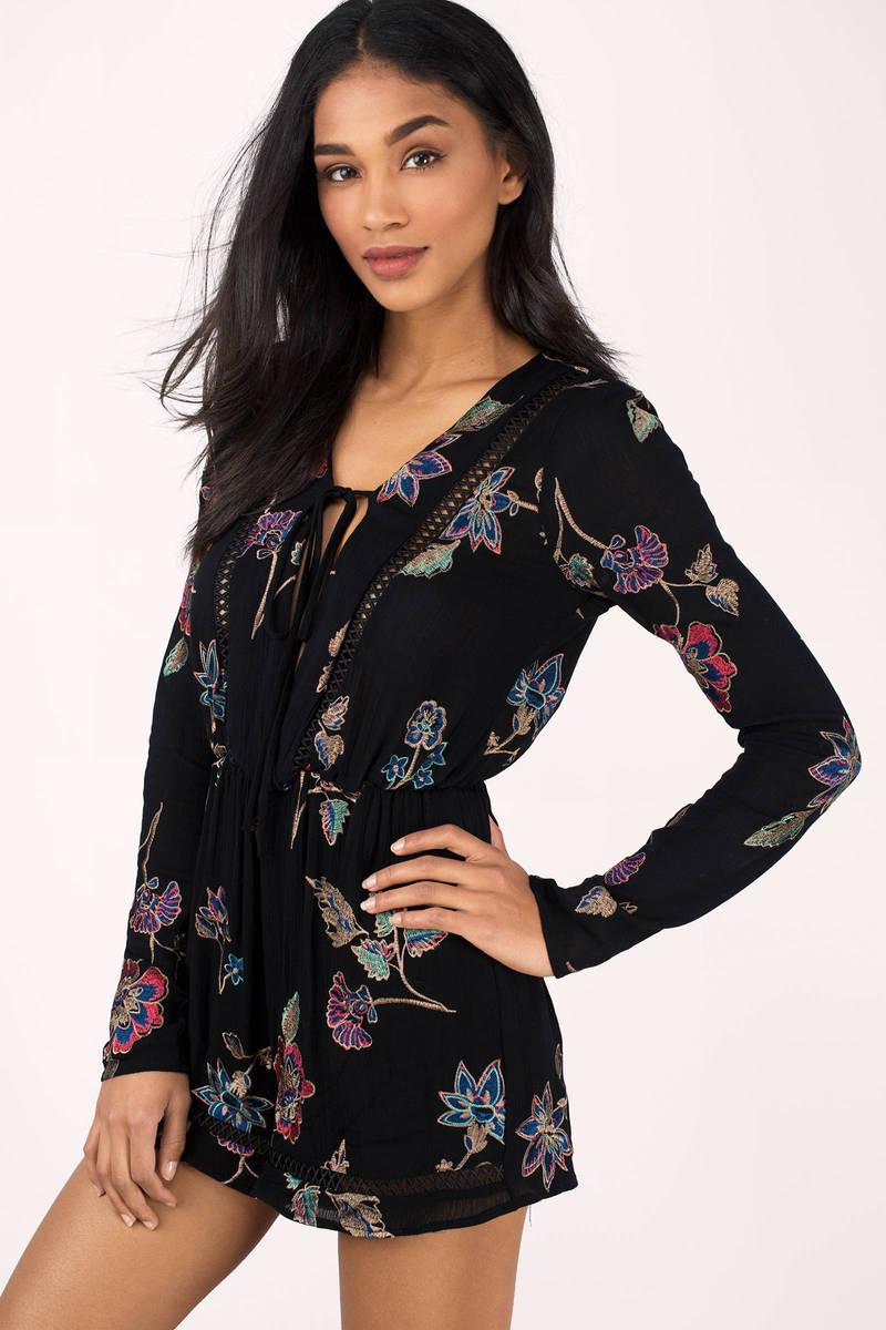 Emory Park Portia Black Multi Floral Print Romper
