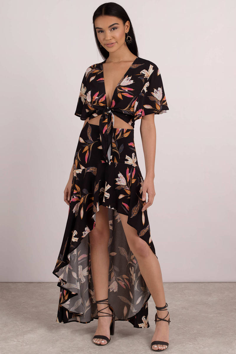6616345e90 Black Beach Riot Skirt - Hi Low Maxi Floral Skirt - Black Maxi Skirt ...