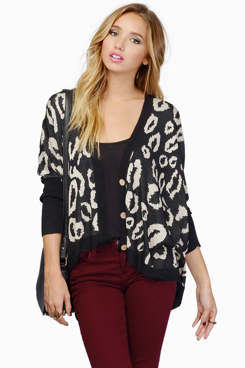 Spot On Black Multi Leopard Print Cardigan