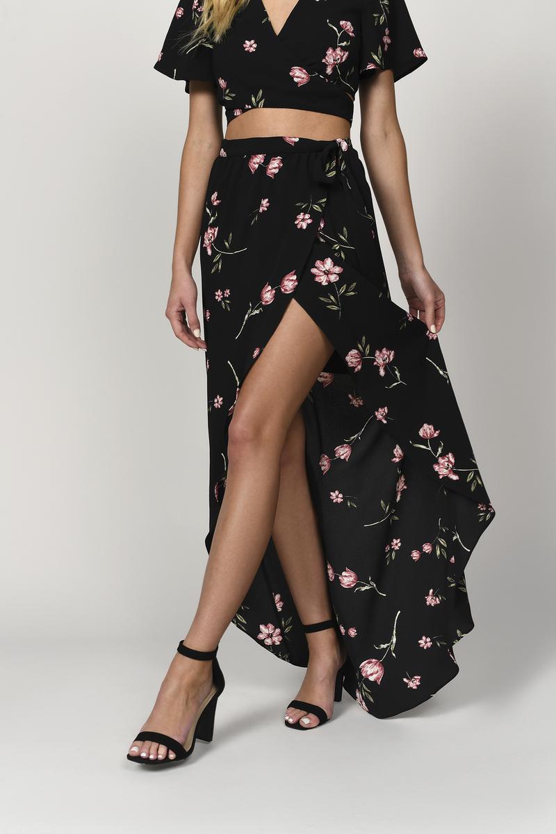 0ae4602c5a Black Skirt - Wrap Maxi Skirt - Black Floral Skirt - High Slit Skirt ...
