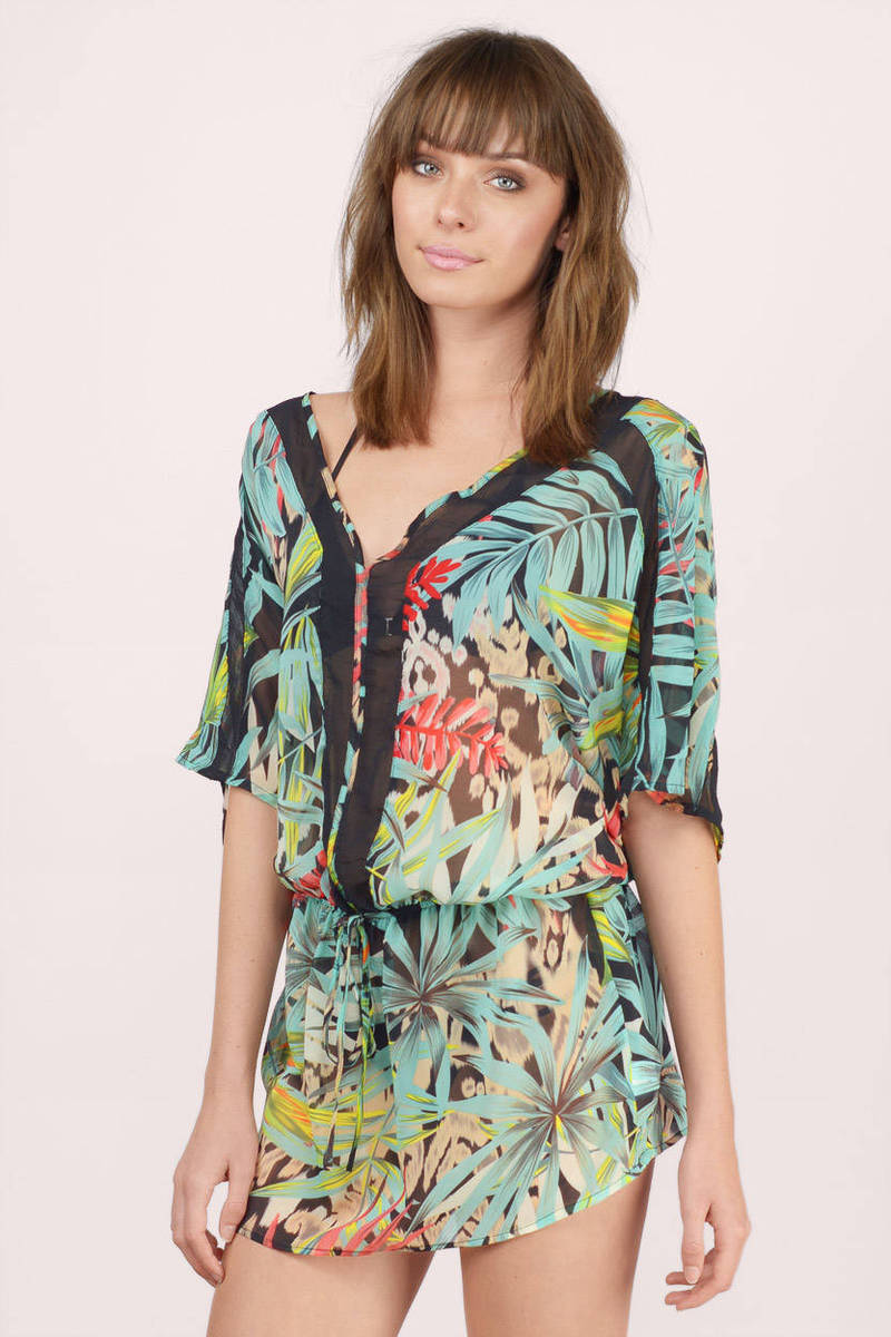 Summer Paradise Black Multi Palm Print Tunic Dress