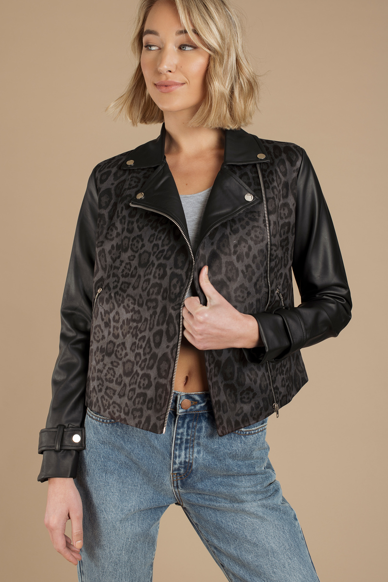 The Wild Side Taupe Multi Leopard Print Moto Jacket