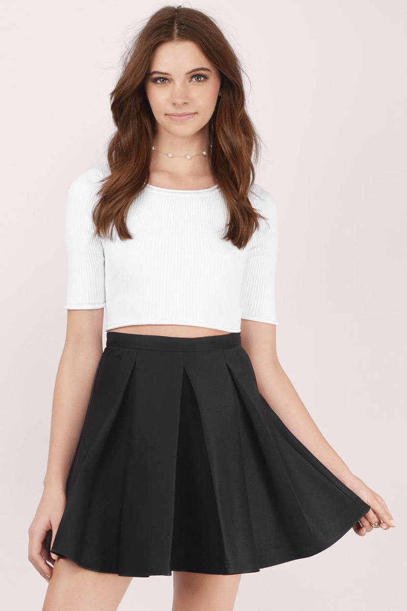 Myah Pleated Black Skater Skirt