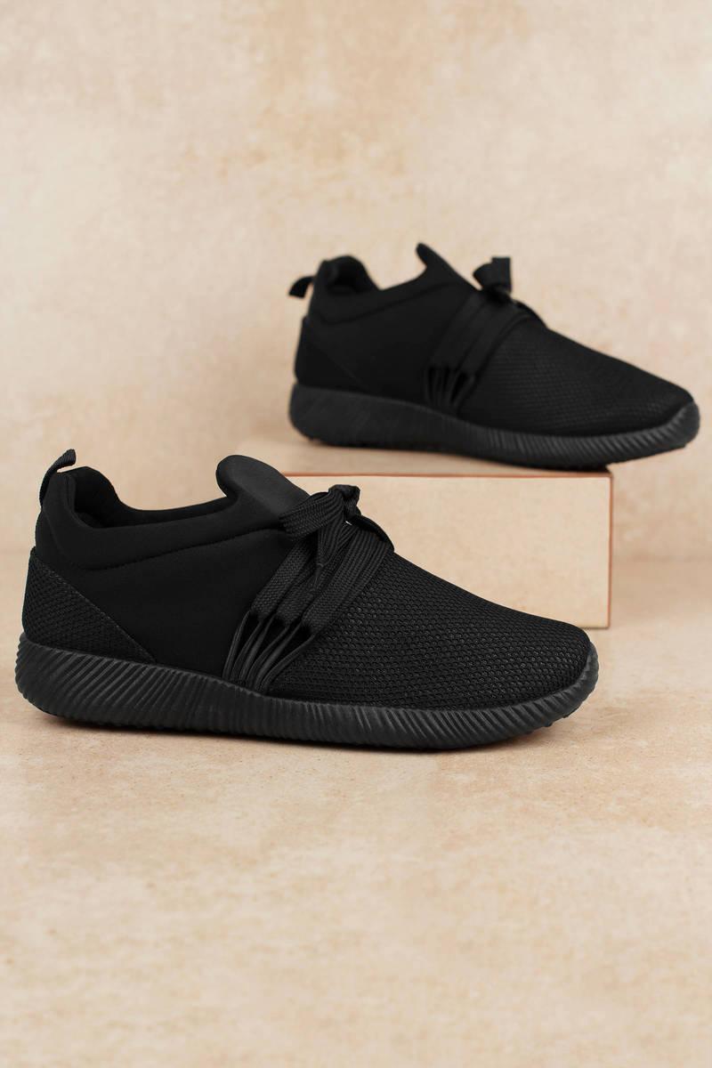 Black Sneakers - Knit Sneakers - Black