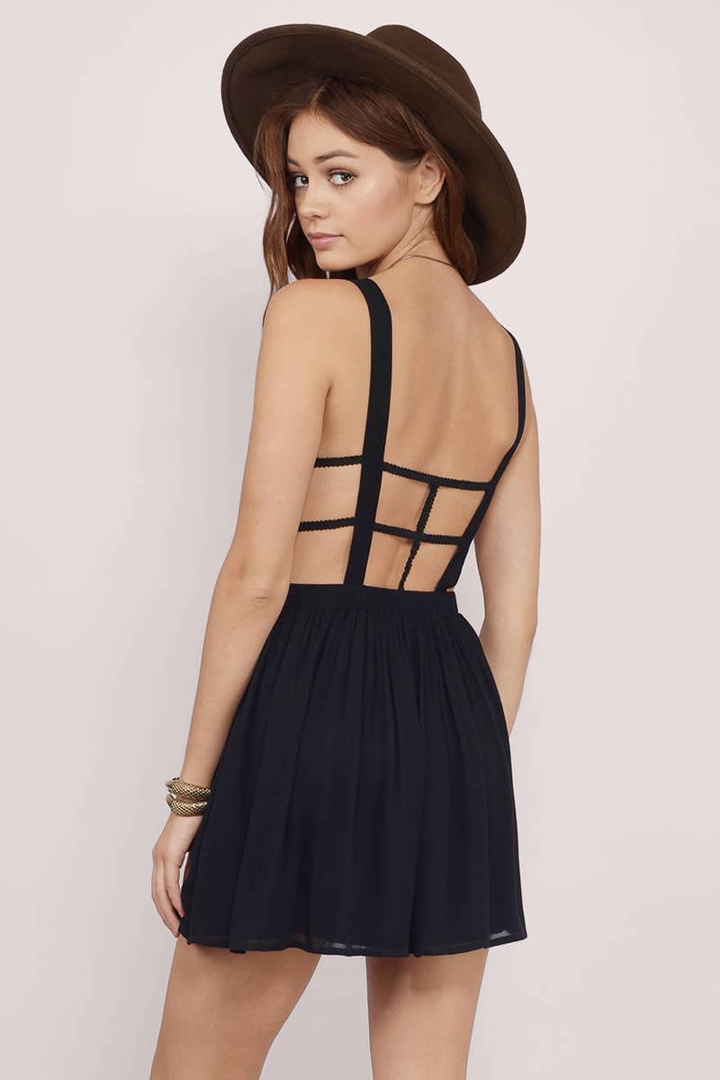 Nadia Black Skater Dress