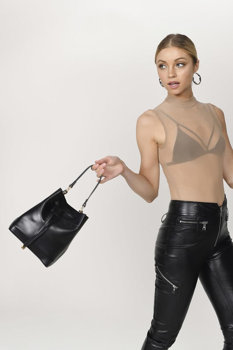41c9e06c5bc7 Black Mini Bag - Bucket Bag - Black Bucket Crossbody -  20