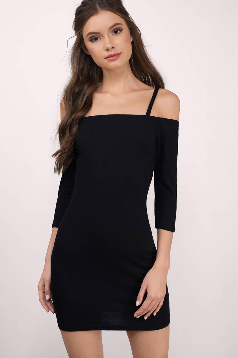 Natasha Black Cold Shoulder Bodycon Dress