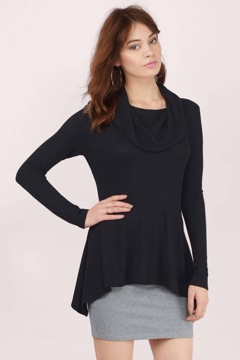 Neck Down Low Black  Blouse