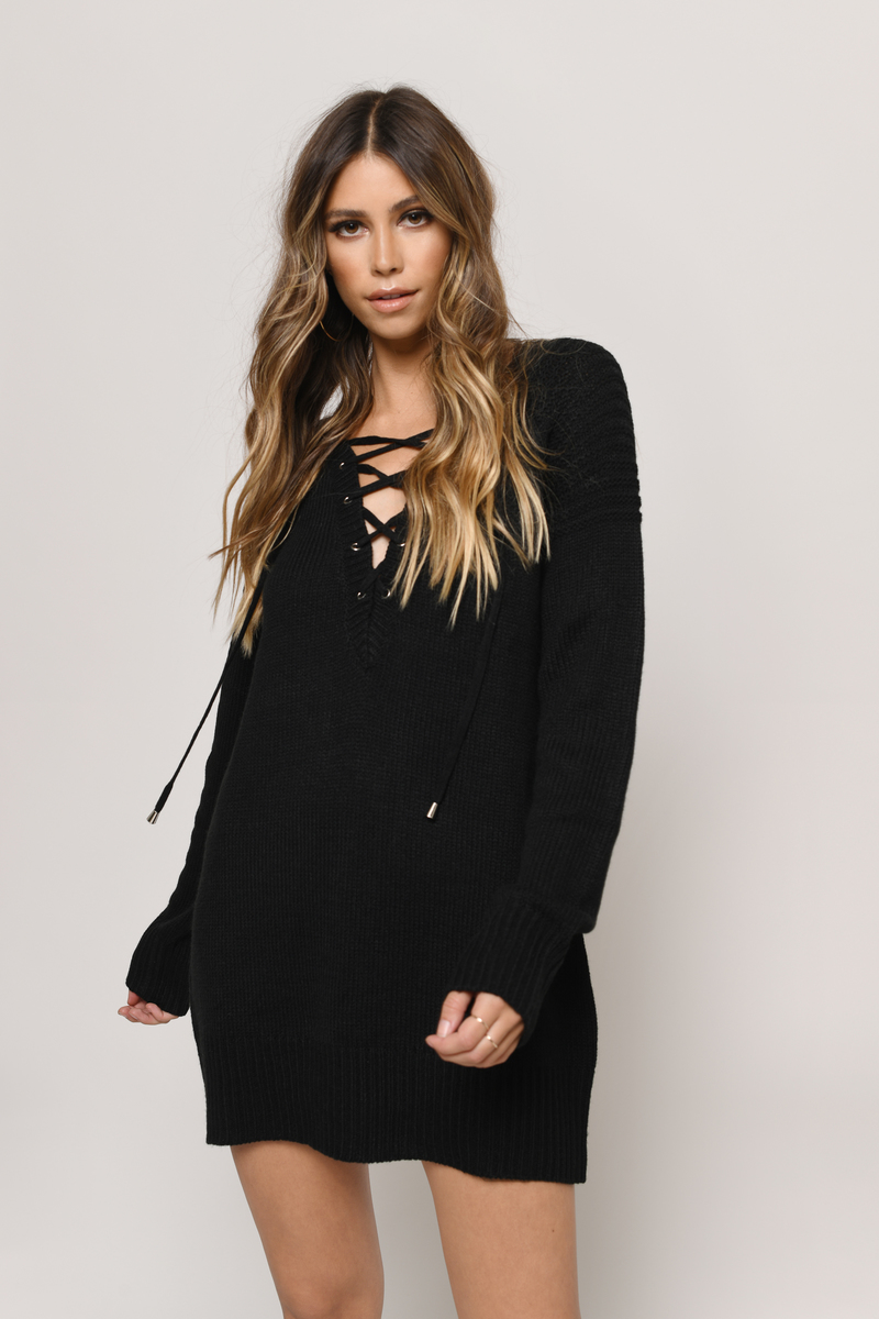 Never Forget You Taupe Lace Up Sweater Dress
