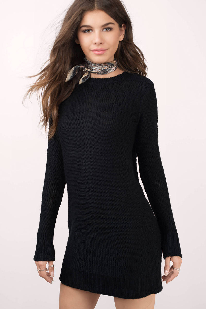 Never Give Up Black Sweater Dress
