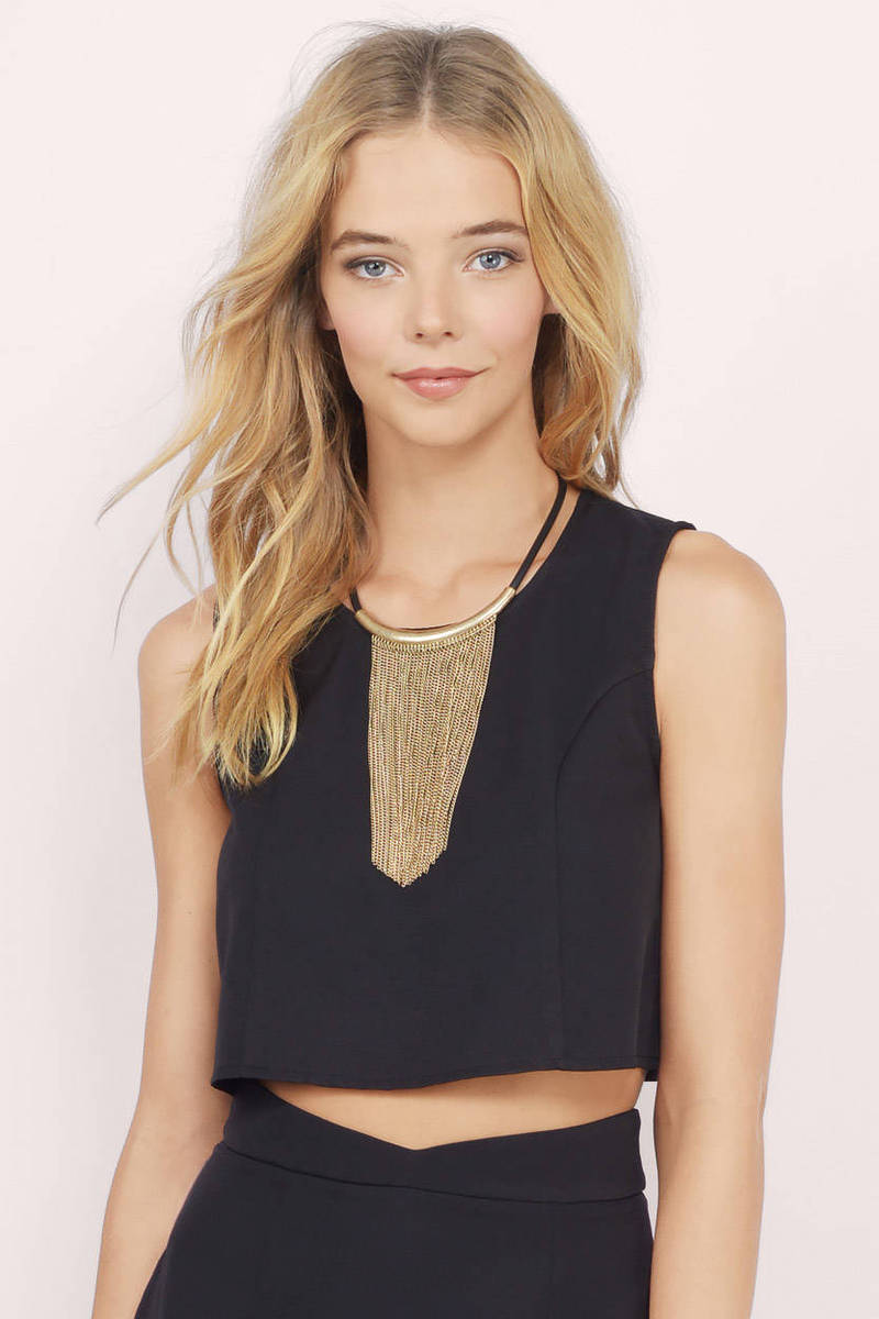 New Wave Black Crepe Crop Top
