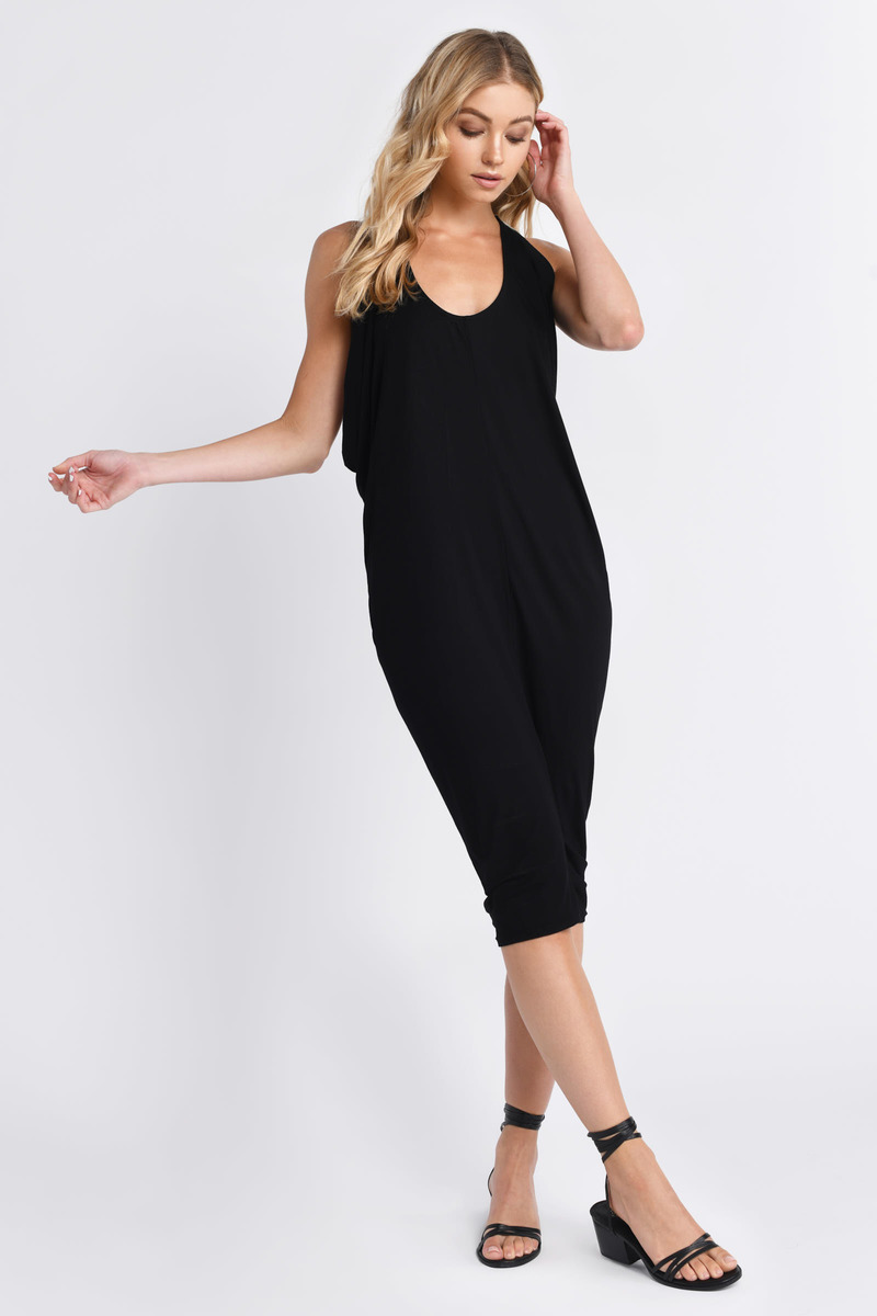Night Cowl Black Midi Dress