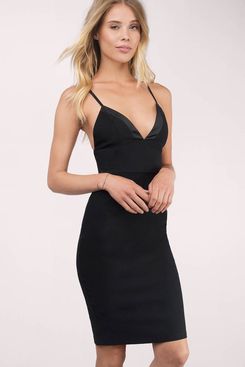 Night Falls Black Midi Dress